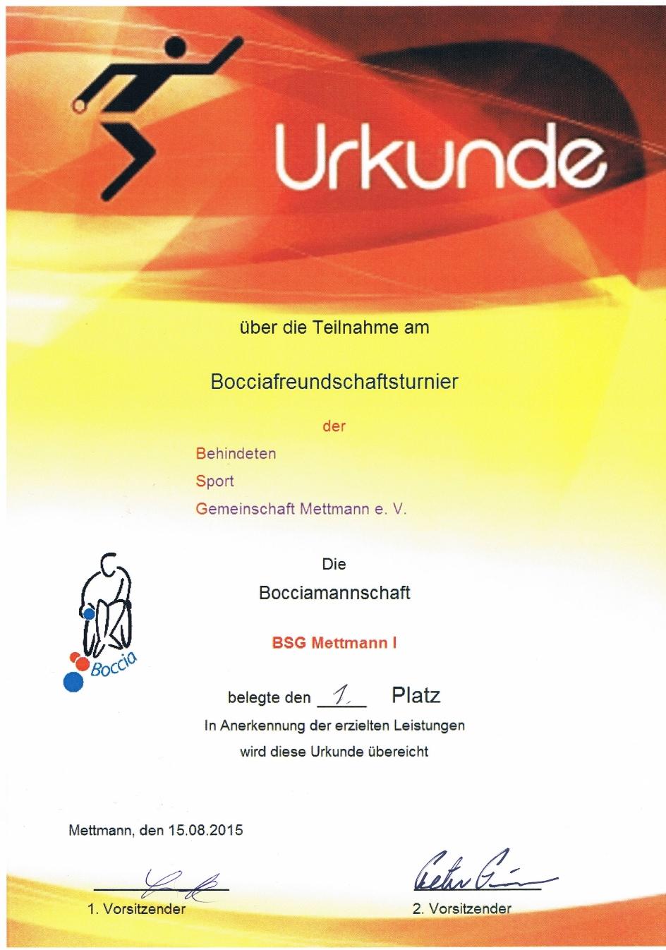 Bocciafreundschaftsturnier 2015