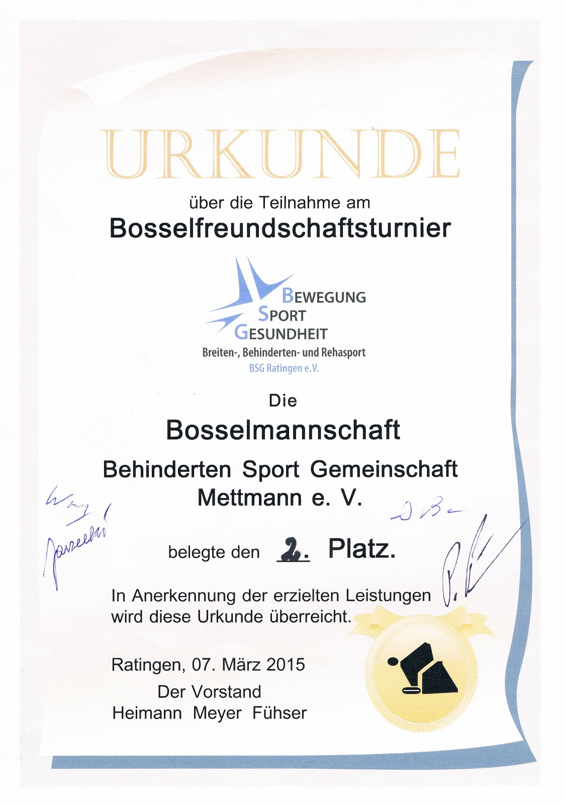 Bosseln -Ratingen am 14.03.2015